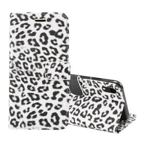 Leopard Pattern Horizontal Flip Leather Case for iPhone XR, With Holder & Card Slots(White)