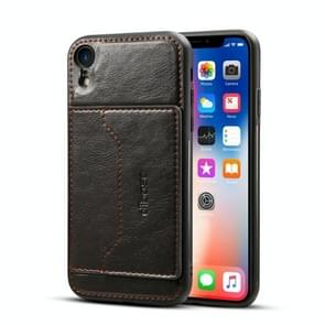 Dibase TPU + PC + PU Crazy Horse Texture Protective Case for iPhone XR , with Holder & Card Slots(Black)