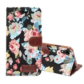 Dibase Flower Pattern Horizontal Flip PU Leather Case for iPhone XR, with Holder & Card Slot(Black)