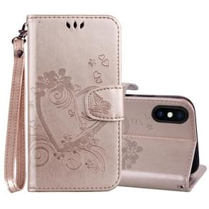 Embossed Heart Butterfly Pattern Horizontal Flip Leather Case for iPhone XS Max, with Card Slot & Holder & Wallet & Lanyard(Gold)
