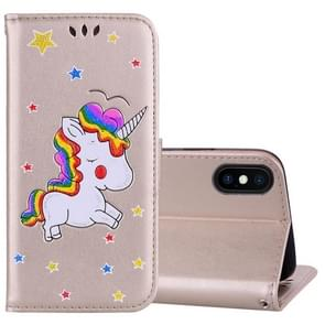 Glitter Powder Unicorn Pattern Horizontal Flip Leather Case for iPhone XS Max, with Holder & Wallet & Card Slots & Photo Frame(Gold)