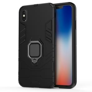 PC + TPU Shockproof Protective Case with Magnetic Ring Holder For iPhone XS Max (Black)