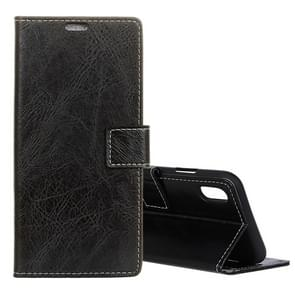 Retro Crazy Horse Texture Horizontal Flip Leather Case for  iPhone XS Max , with Holder & Card Slots & Photo Frame(Black)
