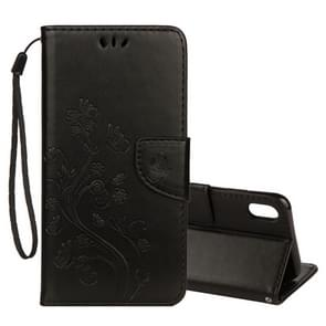 Embossed Butterfly Pattern Horizontal Flip Leather Case with Card Slot & Holder & Wallet & Lanyard For iPhone XS Max (Black)