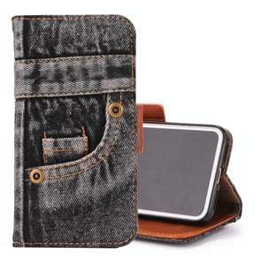 Denim Pattern TPU Case with Card Slot & Wallet & Holder For  iPhone XS Max  6.5 inch(Black)