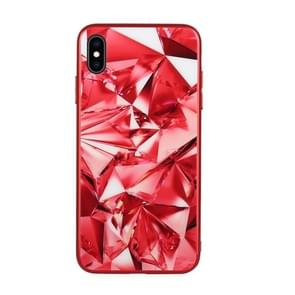 Fashion Diamond Pattern Anti-scratch Gradient Color Glass Case for iPhone XS Max (Red)