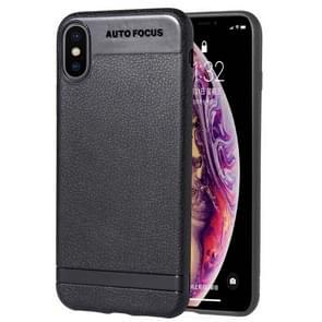 Litchi textuur TPU Shockproof Case voor iPhone XS Max (zwart)