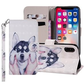 Husky Pattern Colored Drawing Horizontal Flip Leather Case for iPhone XS Max, with Holder & Card Slots & Wallet & Lanyard
