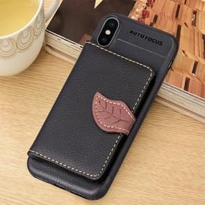 Litchi textuur PU + TPU horizontale Flip lederen hoes for iPhone XS Max  met houder & Card Slots & portemonnee & Photo Frame (zwart)