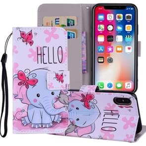 Butterfly Elephant Pattern Colored Drawing Horizontal Flip Leather Case for  iPhone XS Max  6.5 inch, with Holder & Card Slots & Wallet & Lanyard