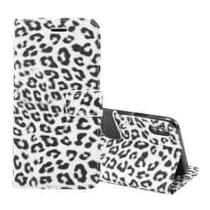 Leopard Pattern Horizontal Flip Leather Case for  iPhone XS Max , With Holder & Card Slots(White)