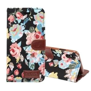 Dibase Flower Pattern Horizontal Flip PU Leather Case for  iPhone XS Max , with Holder & Card Slot(Black)