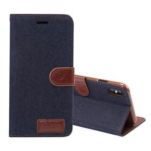 Dibase Denim Texture Horizontal Flip Leather Case for  iPhone XS Max , with Holder & Card Slots(Black)