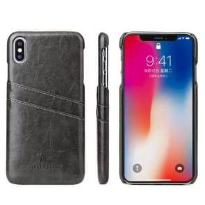 Fierre Shann Retro Oil Wax Texture PU Leather Case for iPhone XS Max, with Card Slots(Black)