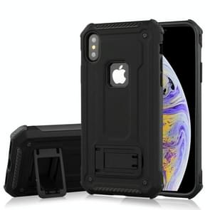 Shockproof PC + TPU Armor Protective Case for iPhone XS Max, with Holder (Black)
