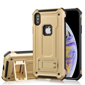 Shockproof PC + TPU Armor Protective Case for iPhone XS Max, with Holder (Gold)