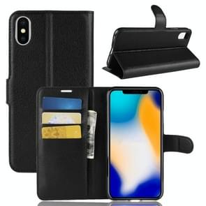 Litchi Texture Horizontal Flip Leather Case for  iPhone XS Max  6.5 inch, with Wallet & Holder & Card Slots (Black)