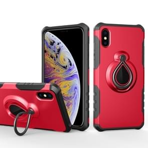 Magnetische afneembare dropproof beschermende back cover case met regendruppel vorm ring houder voor iPhone XS Max (rood)