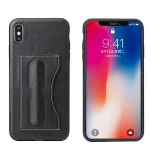 Fierre Shann Full Coverage Protective Leather Case for iPhone XS Max, with Holder & Card Slot(Black)