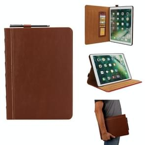 Bijbel stijl Business horizontale Flip lederen case voor iPad Pro 12 9 (2017) & Pro 12 9 (2015)  met kaartsleuven & Pensleuven & foto frame & houder (licht bruin)