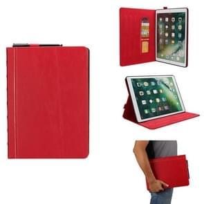 Bijbel stijl Business horizontale Flip lederen case voor iPad Pro 12 9 (2017) & Pro 12 9 (2015)  met kaartsleuven & Pensleuven & foto frame & houder (rood)