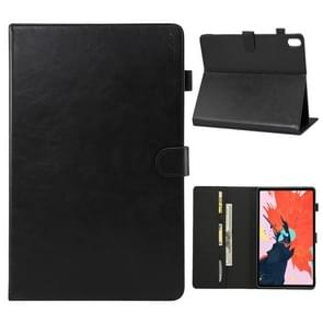 ENKAY Crazy Horse Texture + Plastic Bottom Case Horizontal Flip Leather Case for iPad Pro 11 inch (2018),with Holder & Card Slots & Wallet & Sleep / Wake-up Function(Black)