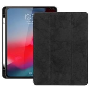 Horizontale Flip leder geval met Pen sleuf drie-vouwen houder & Wake-up / Sleep functie voor iPad Pro 12 9 (2018) (zwart)