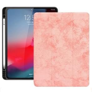 Horizontale Flip leergeval geval met pen sleuf drie-opvouwbare houder & Wake-up/slaapfunctie voor iPad Pro 12 9 (2018) (roze)