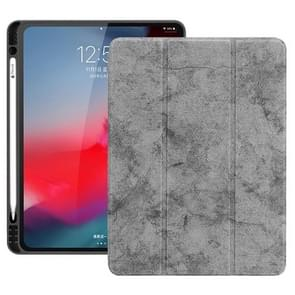 Horizontale Flip leergeval geval met pen sleuf drie-opvouwbare houder & Wake-up/slaapfunctie voor iPad Pro 12 9 (2018) (grijs)