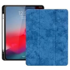 Horizontale Flip leergeval geval met pen sleuf drie-opvouwbare houder & Wake-up/slaapfunctie voor iPad Pro 12 9 (2018) (blauw)