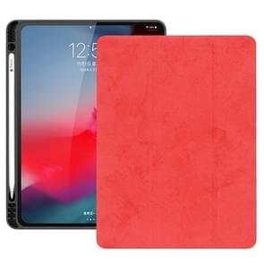 Horizontale Flip leergeval geval met pen sleuf drie-opvouwbare houder & Wake-up/slaapfunctie voor iPad Pro 12 9 (2018) (rood)