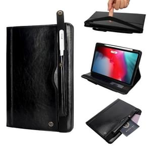 Crazy Horse Texture Horizontal Flip Leather Case for iPad Pro 11 inch (2018), with Card Slots & Pen Slot & Holder & Wallet(Black)