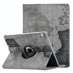 Kaart patroon horizontale Flip lederen hoes voor de iPad Pro 11 inch 2018, met 360 graden roterende houder, willekeurige levering(Grey)