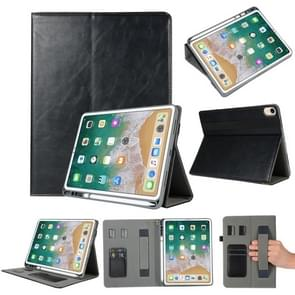 Genuine Leather Protective Case for iPad Pro 11 inch (2018), with Pen Slot & Holder & Card Slots (Black)