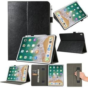 Top-grain Leather Protective Case for iPad Pro 11 inch (2018), with Holder & Card Slots & Wallet(Black)