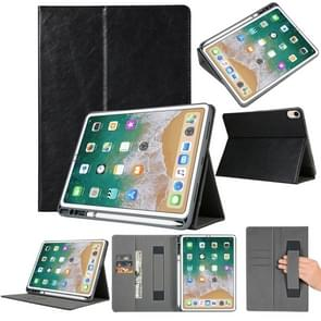 Top-grain Leather Protective Case for iPad Pro 11 inch (2018), with Pen Slot & Holder & Card Slots & Wallet (Black)