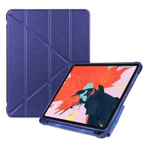 Multi-folding Shockproof TPU Protective Case for iPad Pro 11 inch (2018), with Holder & Pen Slot (Dark Blue)