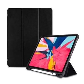 Three-folding Shockproof TPU Protective Case for iPad Pro 11 inch (2018), with Holder & Pen Slot (Black)