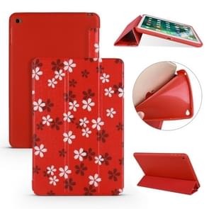 Sakura Pattern Horizontal Flip PU Leather Case for iPad Mini 2019, with Three-folding Holder & Honeycomb TPU Cover