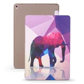 Elephant Pattern Horizontal Flip PU Leather Case for iPad Air 2019 / Pro 10.5 inch, with Three-folding Holder & Honeycomb TPU Cover