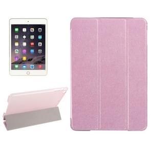 Zijde textuur horizontale Flip lederen draagtas met drie-vouwen houder voor iPad Mini 2019(Pink)