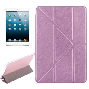 Transformatoren stijl Silk textuur horizontale Flip effen kleur lederen draagtas met houder voor iPad Mini 2019(Pink)