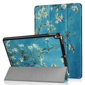 Coloured Drawing Pattern Horizontal Flip Leather Case for iPad Air 2019 10.5 inch, with Three-folding Holder & Sleep / Wake-up Function (Prunus Pattern)