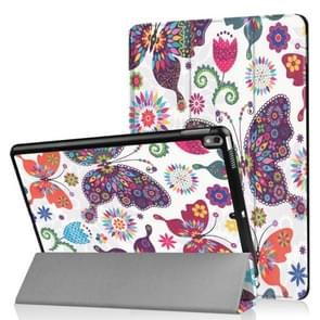 Coloured Drawing Pattern Horizontal Flip Leather Case for iPad Air 2019 10.5 inch, with Three-folding Holder & Sleep / Wake-up Function (Butterfly Pattern)