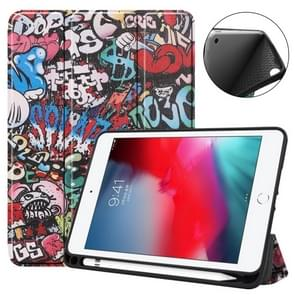 Coloured Drawing Pattern Horizontal Flip Leather Case for iPad Mini 2019, with Three-folding Holder & Sleep / Wake-up Function & Pen Slot