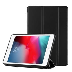 PU Plastic Bottom Case Foldable Deformation Left and Right Flip Leather Case with Three Fold Bracket & Smart Sleep for iPad mini 2019 (Black)