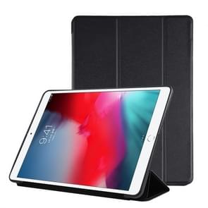 PU Plastic Bottom Case Foldable Deformation Left and Right Flip Leather Case with Three Fold Bracket & Smart Sleep for iPad Air3 2019(Black)
