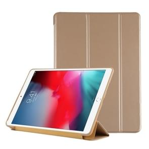 PU Plastic Bottom Case Foldable Deformation Left and Right Flip Leather Case with Three Fold Bracket & Smart Sleep for iPad Air3 2019(Gold)