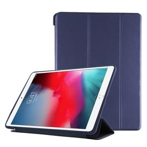 PU Plastic Bottom Case Foldable Deformation Left and Right Flip Leather Case with Three Fold Bracket & Smart Sleep for iPad Air3 2019(Blue)