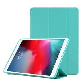 PU Plastic Bottom Case Foldable Deformation Left and Right Flip Leather Case with Three Fold Bracket & Smart Sleep for iPad Air3 2019(Mint Green)